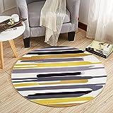 wly&home Gelb gestreifte Runde Teppich, gepolsterte Couchtisch Schlafzimmer Bett Matte, Bett hängen Korb Computer Stuhl Kissen (160cm), 160cm