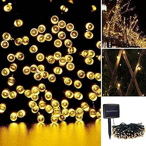 iRegro 100 LED al aire libre solar de cadena ligera impermeable accionada Hada de iluminación de Navidad Decoración de luces de neón Signos (Blanco caliente)