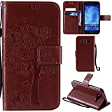 Ooboom® Samsung Galaxy J5(2015 Version) Case Cat Tree Pattern PU Leather Flip Cover Wallet Stand with Card/Cash Slots Packet Wrist Strap Magnetic Clasp for Samsung Galaxy J5(2015 Version) - Coffee