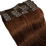 Extension a Clip Cheveux Naturel Châtain Rajout Cheveux Naturel Remy - 100% Remy...