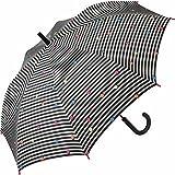 Esprit Damen Stockschirm Automatik Punkte - Dots & Stripes - black