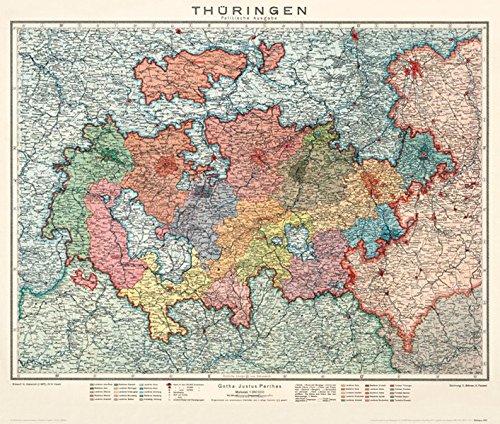1920 Karte (Historische Karte: Thüringen - Politische Ausgabe 1920: Karte des am 1. Mai 1920 neu gegründeten Landes Thüringen (Plano))
