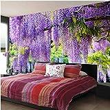 Romantische purpurrote Blumen-Rebe-Wand-Malerei-Wohnzimmer-Wohnzimmer-Foto-Hintergrund-Wandbild-Tapeten-Dekor 3D XXL 300X682CM