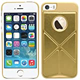 SAMRICK Multi-funktionale Origami Faltung Ständer Schutzhülle für Apple iPhone 5/5S Gold