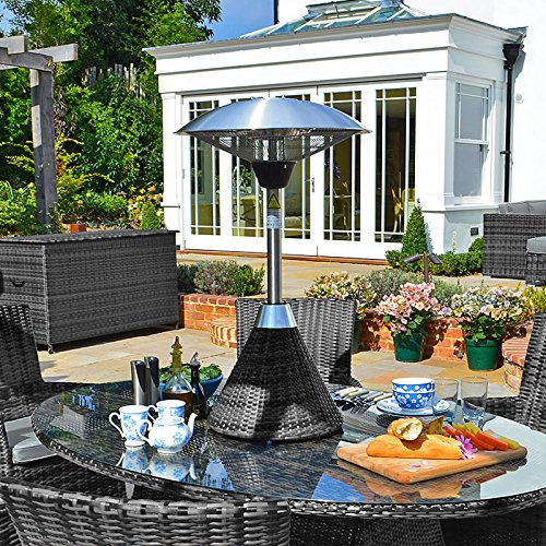 Outdoor Patio Heater by Nova - 2100w Electric Table Top Heater - Grey Flat Weave Rattan Base