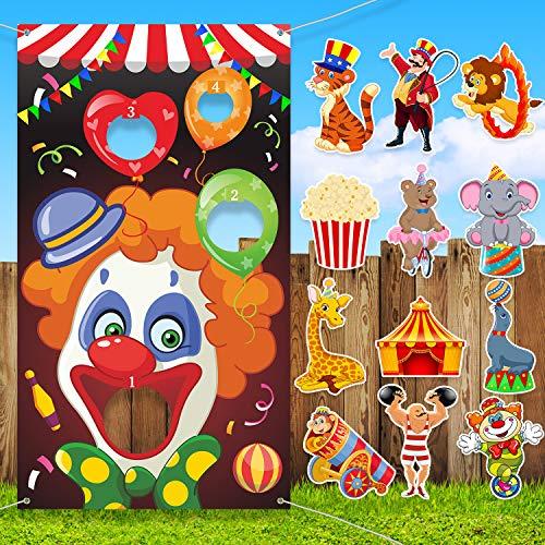 Blulu Karneval Party Lieferungen Kit, Karneval Clown Werfen Spiel mit 3 Stück Sitzsack, 12 Stück Zirkus Thema Karneval Ausschnitte für Kinder Erwachsene Karneval Party Spiel Dekoration