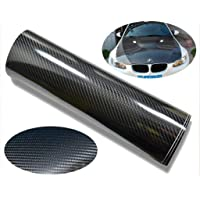CVANU Self Adhesive Black 5D Carbon Fiber Vinyl Wrap Film Car Wrapping Vinyl Sticker for All Car_12''x24''inch