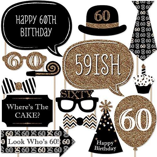 Photo-Booth-Requisiten-Set für 60. Geburtstag–goldfarben–20-teilig