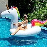 Riesige aufblasbare Einhorn geformte schwimmende Matte, PurpleSalt®, Schwimmen Ring, sprengen Sonnenliege lilo Schwimmbad Strand Luftbett Float Floß mit schnellen Ventilen für 2 - 3 Erwachsene, aufgeblasen Größe 275x140x120cm