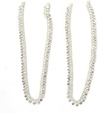 Shoplicious Stunning Silver Payal Anklet for Girls & Women (Style2)