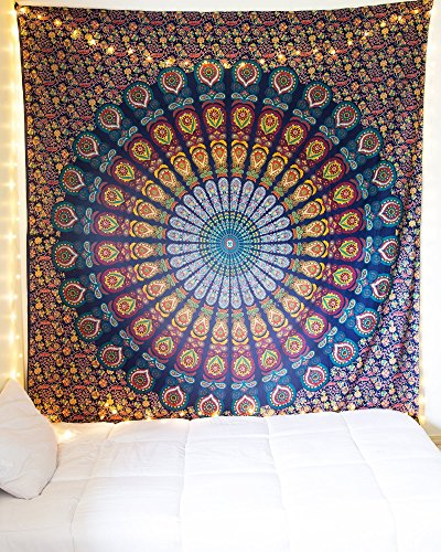 Craftozone Unique Mandala Tapestry Hippie Sheet Beach Sheet Multi Purpose Cloth, 95 x 85 Inch
