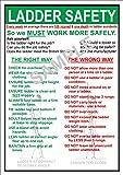 Salud y Seguridad en el trabajo (OHS) escalera seguridad en el trabajo señal de aviso–tamaño A3Póster
