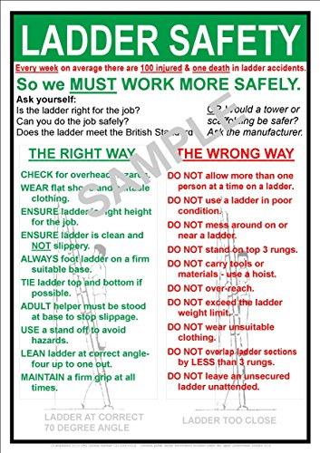 Occupational Health and Safety (OHS) LADDER SAFETY AT WORK NOTICE - A3 SIZE POSTER SIGN