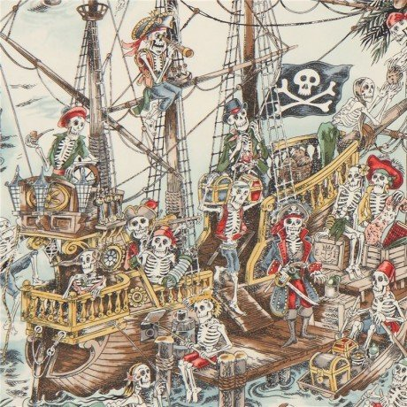 Colorful Alexander Henry fabric pirate skeleton Skelewags (per 0.5m unit)