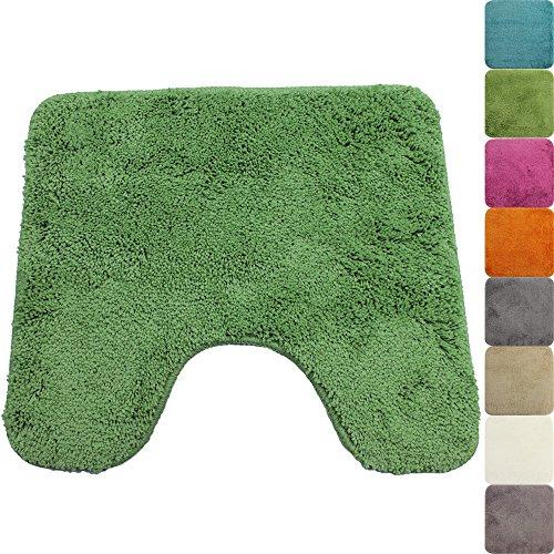 proheim Badematte in vielen Formen rutschfester Badvorleger Premium Badteppich 1200 g/m² weich & kuschelig Hochflor, Farbe:Grün, Produkt:WC Vorleger 45 x 50 cm Ausschnitt