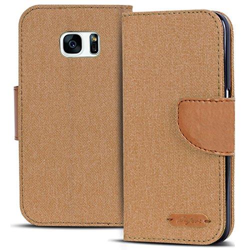 Conie Textil Hülle kompatibel mit Samsung Galaxy S7 Edge, Booklet Cover Braune Handytasche Klapphülle Etui mit Kartenfächer