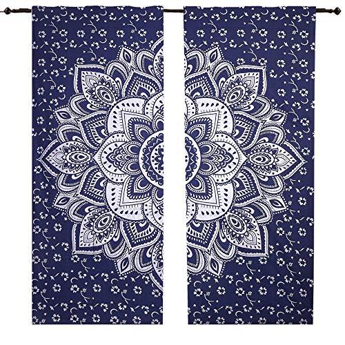 Blau Silber Mandala Vorhang Set Fenster, Mandala Wandbehang Gardinen Einsätze Paar 82Länge, 2Stück indischen Hippie Vorhänge Bohemian Psychedelic ombre-mandala wall-hanging-tapestry, Boho Vorhänge - Vorhang Rod Hanging