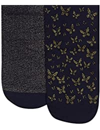 510ce064c76 Debenhams Kids Pack of Two Girl s Navy and Gold Glitter Butterfly Tights