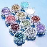 Glitzerpuder für Nageldesigns, 12 Döschen mit verschiedenen Farben