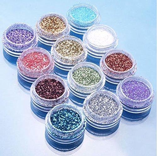 Price comparison product image Supply EU 12pcs Color Glitter Dust Powder Tip Decoration Nail Art