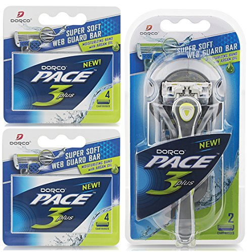 dorco-pace-3-manual-razor-for-men-three-blade-technology-pivoting-head-for-maximum-coverage-lubricat