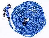Tuyau d'arrosage extensible TriEcoWorld, tuyau de jardin puissant et flexible de 30 mètres de long, avec une buse de pulvérisation dotée de 7 vitesses, bleu