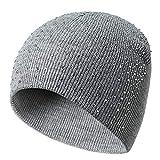 Strickmütze für Damen und Herren, warmer Crochet Winter Wolle Knit Ski Beanie Skull Slouchy Caps Hat, warme Strickmütze mit halbtransparenten Strasssteinen hellgrau