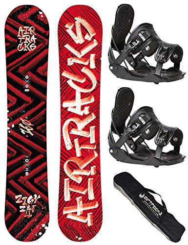 AIRTRACKS SNOWBOARD SET / HIT AND RUN SNOWBOARD WIDE ROCKER + BINDUNG FLOW FIVE + SB BAG / 150 153 155 158 161 / cm
