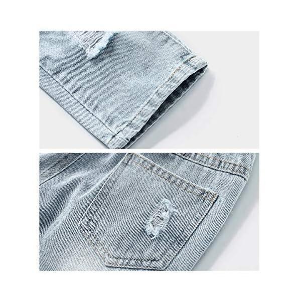 LAPLBEKE Bebé Niño Vaqueros Rotos Jeans Denim Rasgado Ripped Pantalones con Cintura Elástica Primavera Otoño 5