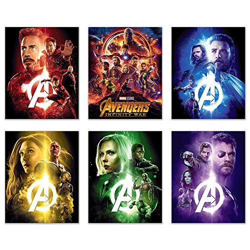 Crystal Avengers Infinity War Film Poster Drucke 8 x 10 - Set von sechs Wand Kunst Fotos - Black Panther - Iron Man - Captain America - Doctor Strange - Spiderman - Wong - Thor - Star Lord - Gamora -