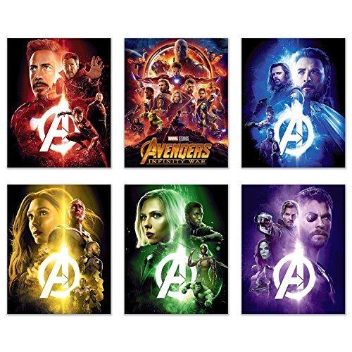 Crystal Avengers Infinity War Film Poster Drucke 8x 10-Set von sechs Wand Kunst Fotos-Black Panther-Iron Man-Captain America-Doctor Strange-Spiderman-Wong-Thor-Star Lord-Gamora - -