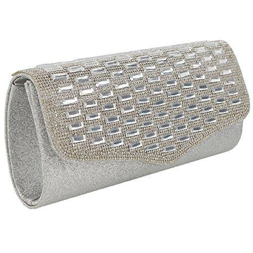 Essex Glam Glitzernde Strassstein Clutch Abendtasche Handtasche Gold