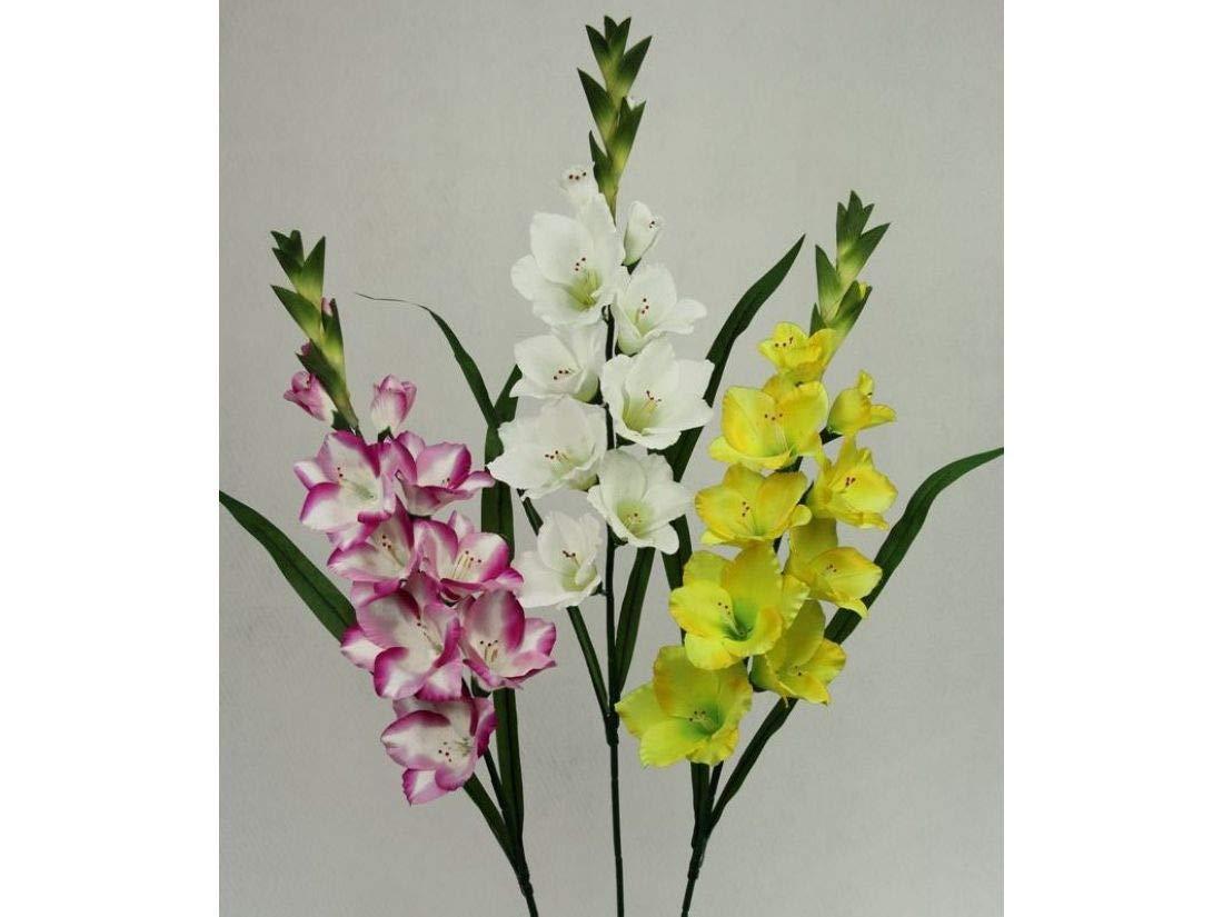 RIVER FLOWER Vara Gladiolo Satinado Super X9 03342-05=Amarillo 95cm
