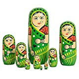 Fine Craft India Set of 9 Piece Green Hand Paints Matryoshka Traditional Indian Nesting Stacking Green Wooden Nested Dolls Christmas