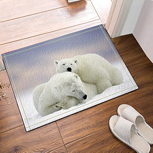 BuEnn Zwei Eisbären in den Schneematten Badteppich Antirutsch Eingangsbereich für den Innen- und...