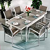 Margaritas mesa y 6sillas | extensible 200cm juego de muebles de exterior, aluminio, White & Champagne, Georgia Chairs
