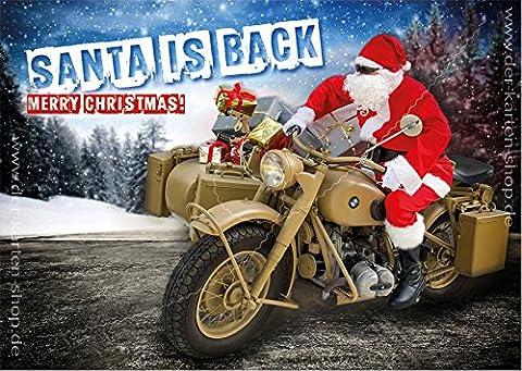 3 Stück A6 Postkarten Weihnachtskarte Karte Weihnachten Nikolaus auf alter BMW, Motorrad