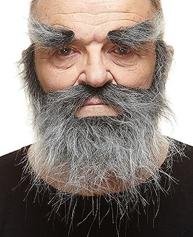 Barbe de trappeur réalistique avec moustache et surcils poivre et sel