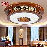 Lilamins Lampada da soffitto rotonda di legno solido emulazione Led classico vello acrilico luce controllosi accende in remoto per la camera da letto Cucina Sala da pranzo , 500mm