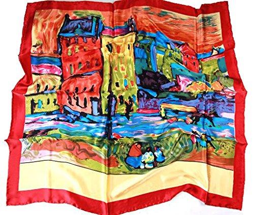 Prettystern P742 - 90cm Seide Kunst Kunstdruck Malerei Tuch - Wassily Kandinsky - Case a Monaco / rot -
