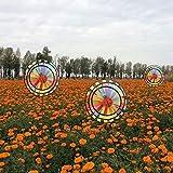 Dairyshop Arco iris de colores del arco iris de tres ruedas viento molinete molino de viento jardinería decoración al aire libre