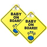 WildAuto Baby on Board Sign for Car, 2pcs Kids Safety Warning with Suction Cups