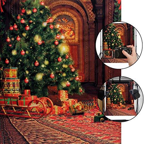 CAMTOA Weihnachts Fotohintergrund, 5X7ft Weihnachten Hintergrund Fotografie Stoffhintergrund Vinyl Stoff Hintergrund Weihnachtsbaum Thema Studio Hintergrund Dekoration