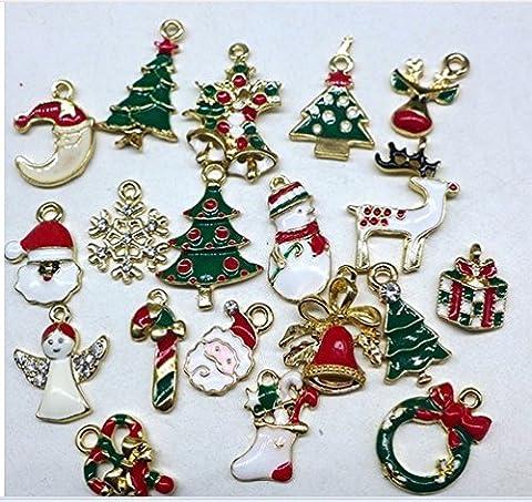 Kicode Ensemble de charmes de Noël mélangé 19pcs Multicolore Pendentifs