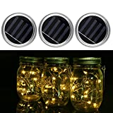 JIEDU 3 Pack-Mason Jar solar Lights, lampade a sospensione a LED da 10 LED,...