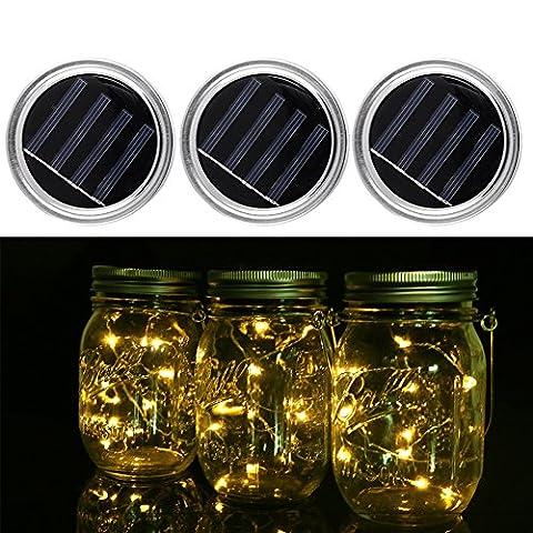Lot de 3Changement de couleur solaire Bocal lumière Couvercle Insert LED Cordes coloré Lanterne Fée lumières pour jardin porche Décor fête Décoration de vacances de mariage, 3couleurs