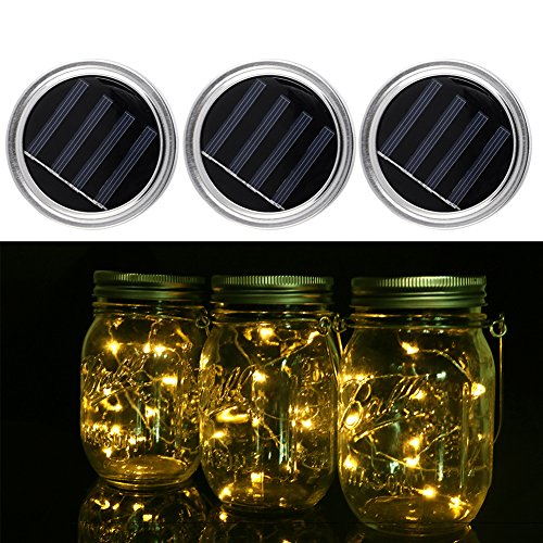 3 Packs Solar Mason Jar Licht Lid - Weihnachten Batterie Lichterkette LED Mason Jar Solar Light Outdoor Garten Halloween Zuhause Party Hochzeit Dekoration (ohne Glas erhalten) (Solar Led Fairy Lichter)
