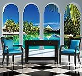 FORWALL Fototapete Vlies Wanddeko Malediven Fensterblick VEXL (208cm. x 146cm.) AMF2357VEXL Perspective