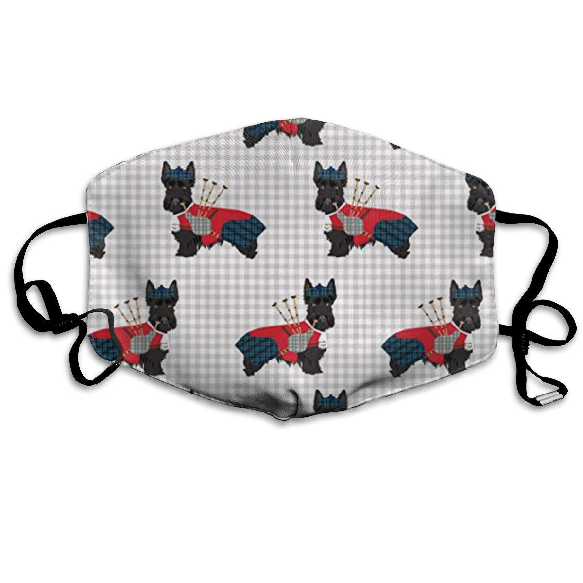 Daawqee Mascarillas, Scottie Dog with Bagpipes Allergy & Flu Mask – Comfortable, Washable Protection from Dust, Pollen, Allergens, Cold & Flu Germs with Antimicrobial; Asthma Mask