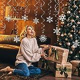 LANMOK Copos de Nieve Espiral Colgantes 36pcs Colgantes Decorativos en Espiral para Decoración de Fiesta de Navidad Temáticas de Invierno Reuniones Familiares Interacciones...